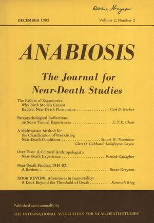 Primary view of object titled 'Anabiosis: The Journal for Near-Death Studies, Volume 2, Number 2, December 1982'.