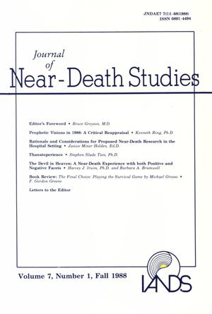 Primary view of object titled 'Journal of Near-Death Studies, Volume 7, Number 1, Fall 1988'.