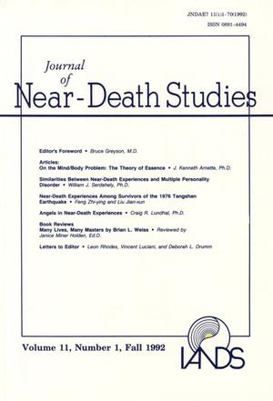 Primary view of object titled 'Journal of Near-Death Studies, Volume 11, Number 1, Fall 1992'.