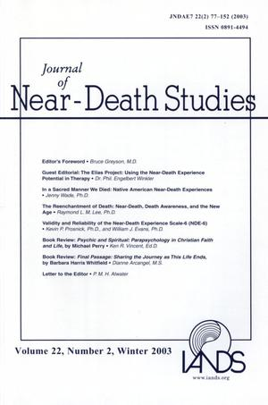 Primary view of object titled 'Journal of Near-Death Studies, Volume 22, Number 2, Winter 2003'.