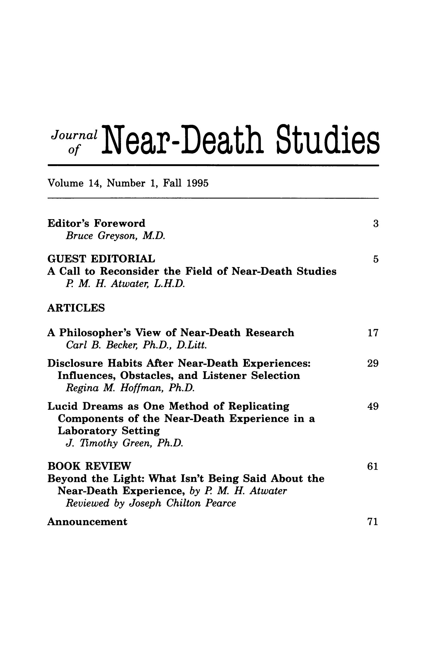 Journal of Near-Death Studies, Volume 14, Number 1, Fall 1995                                                                                                      1