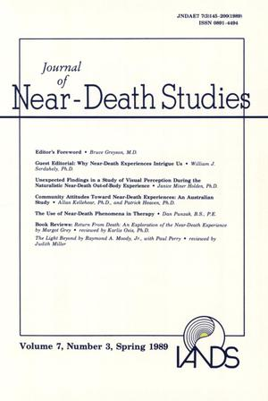 Primary view of object titled 'Journal of Near-Death Studies, Volume 7, Number 3, Spring 1989'.