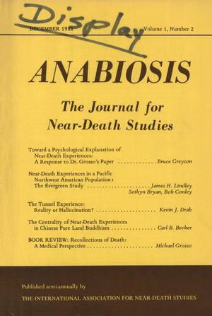 Primary view of object titled 'Anabiosis: The Journal for Near-Death Studies, Volume 1, Number 2, December 1981'.