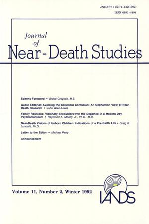 Primary view of object titled 'Journal of Near-Death Studies, Volume 11, Number 2, Winter 1992'.