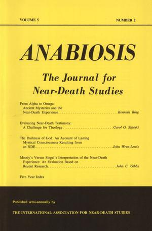Primary view of object titled 'Anabiosis: The Journal for Near-Death Studies, Volume 5, Number 2'.