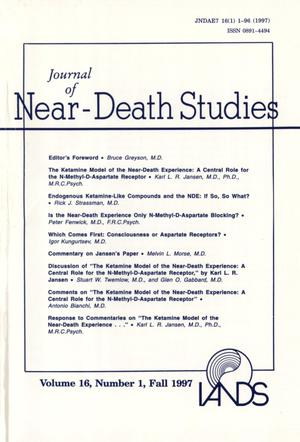 Primary view of object titled 'Journal of Near-Death Studies, Volume 16, Number 1, Fall 1997'.