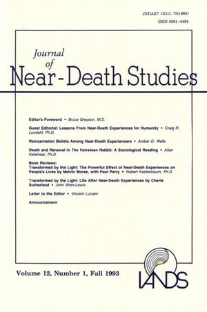 Primary view of object titled 'Journal of Near-Death Studies, Volume 12, Number 1, Fall 1993'.