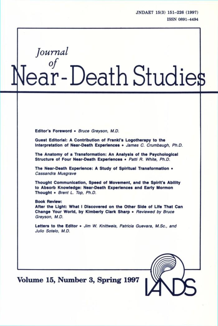 Journal Of Near Death Studies Volume 15 Number 3 Spring 1997