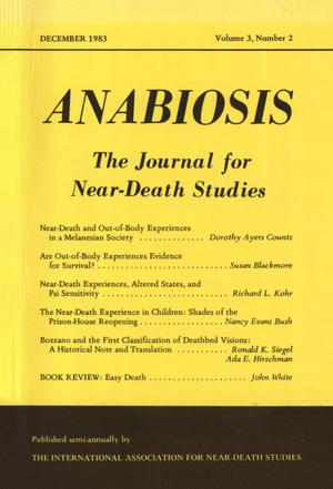 Primary view of object titled 'Anabiosis: The Journal for Near-Death Studies, Volume 3, Number 2, December 1983'.