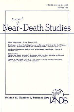Primary view of object titled 'Journal of Near-Death Studies, Volume 13, Number 4, Summer 1995'.