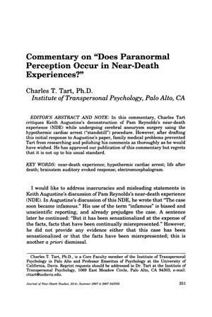 "Primary view of object titled 'Commentary on ""Does Paranormal Perception Occur in Near-Death Experiences?""'."