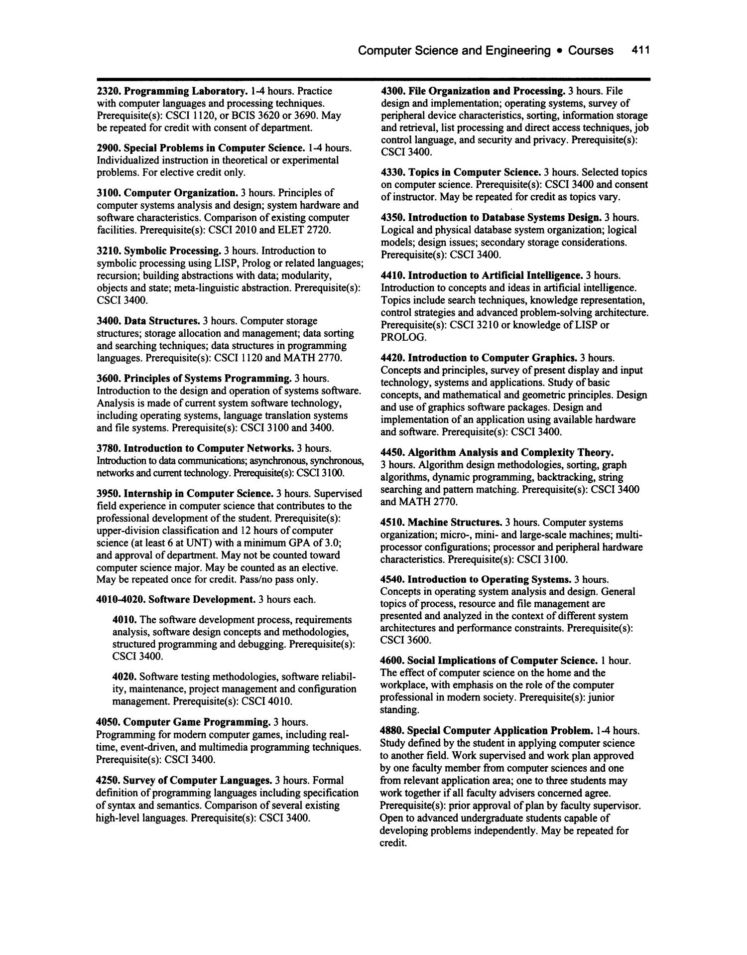 Catalog Of The University Of North Texas 2003 2004 Undergraduate Page 411 Unt Digital Library
