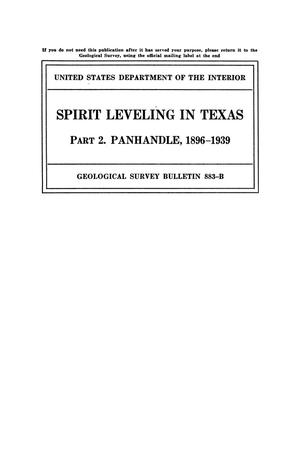 Primary view of object titled 'Spirit Leveling in Texas: Part 2. The Panhandle, 1896-1939'.