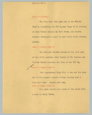 Primary view of object titled '[News Script: Rice 20 TCU 0]'.