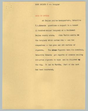 Primary view of object titled '[News Script: News brief 2 - burglar]'.