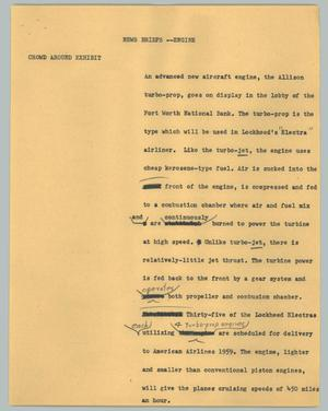 Primary view of object titled '[News Script: News briefs -- Engine]'.