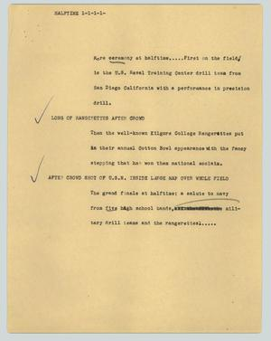 Primary view of object titled '[News Script: Halftime ]'.