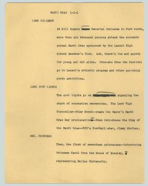 Primary view of object titled '[News Script: Mardi Gras]'.