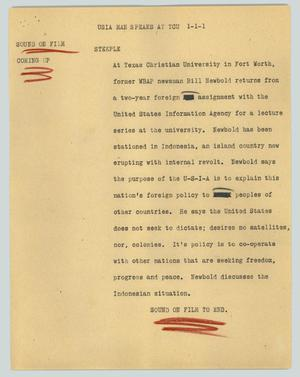 Primary view of object titled '[News Script: USIA man speaks at TCU]'.