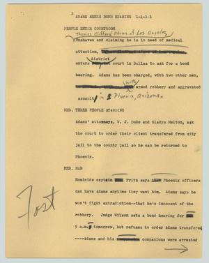 Primary view of object titled '[News Script: Adams seeks bond hearing]'.