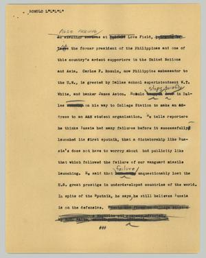 Primary view of object titled '[News Script: Romulo]'.