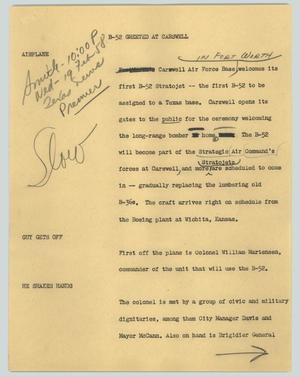 Primary view of object titled '[News Script: B-52 greeted at Carswell]'.