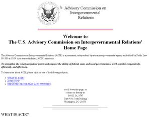 Primary view of object titled 'ACIR (Advisory Commission on Intergovernmental Relations) Home Page'.