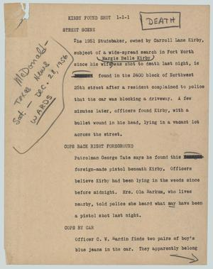 Primary view of object titled '[News Script: Kirby found shot]'.