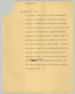 Primary view of object titled '[News Script: Stevenson]'.
