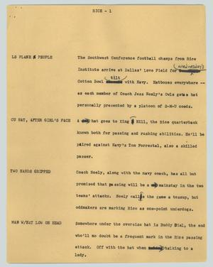 Primary view of object titled '[News Script: Rice]'.