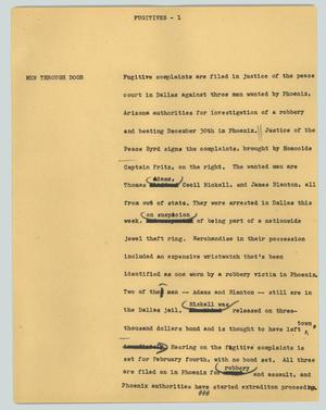 Primary view of object titled '[News Script: Fugitives]'.