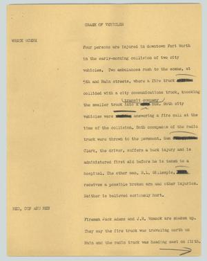 Primary view of object titled '[News Script: Crash of vehicles]'.