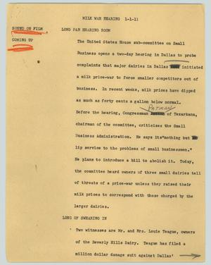 Primary view of object titled '[News Script: Milk war hearing]'.