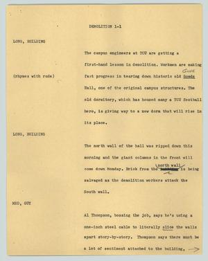 Primary view of object titled '[News Script: Demolition]'.