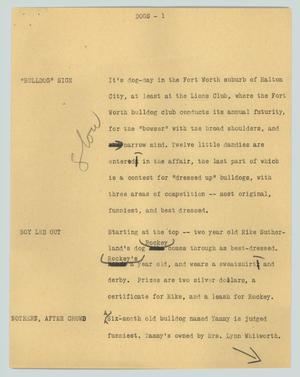 Primary view of object titled '[News Script: Dogs]'.