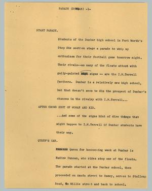 Primary view of object titled '[News Script: Parade (Dunbar)]'.