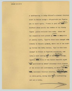 Primary view of object titled '[News Script: Adams]'.