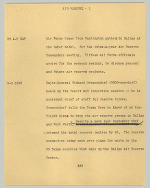 Primary view of object titled '[News Script: Air reserve]'.