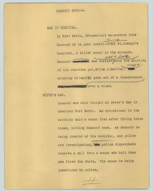 Primary view of object titled '[News Script: Hammond shot]'.