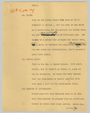 Primary view of object titled '[News Script: Joe]'.