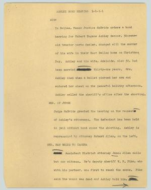 Primary view of object titled '[News Script: Ashley bond hearing]'.