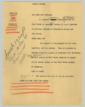 Primary view of object titled '[News Script: Lyndon Johnson]'.