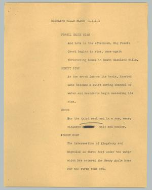 Primary view of object titled '[News Script: Richland Hills flood]'.