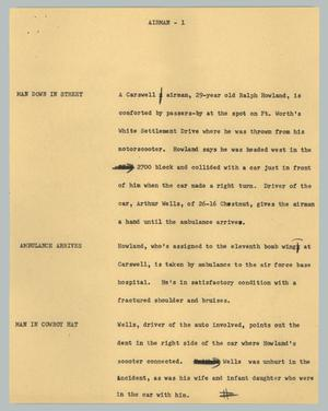 Primary view of object titled '[News Script: Airman]'.