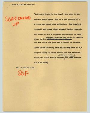 Primary view of object titled '[News Script: Mike McClellan]'.