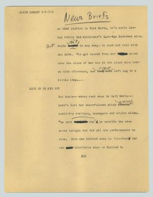 Primary view of object titled '[News Script: Annie Oakley]'.