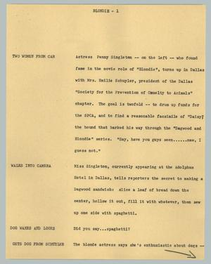 Primary view of object titled '[News Script: Blondie]'.