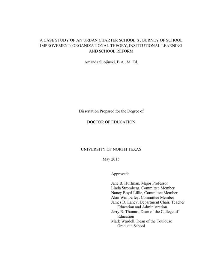 dissertation a case study on school