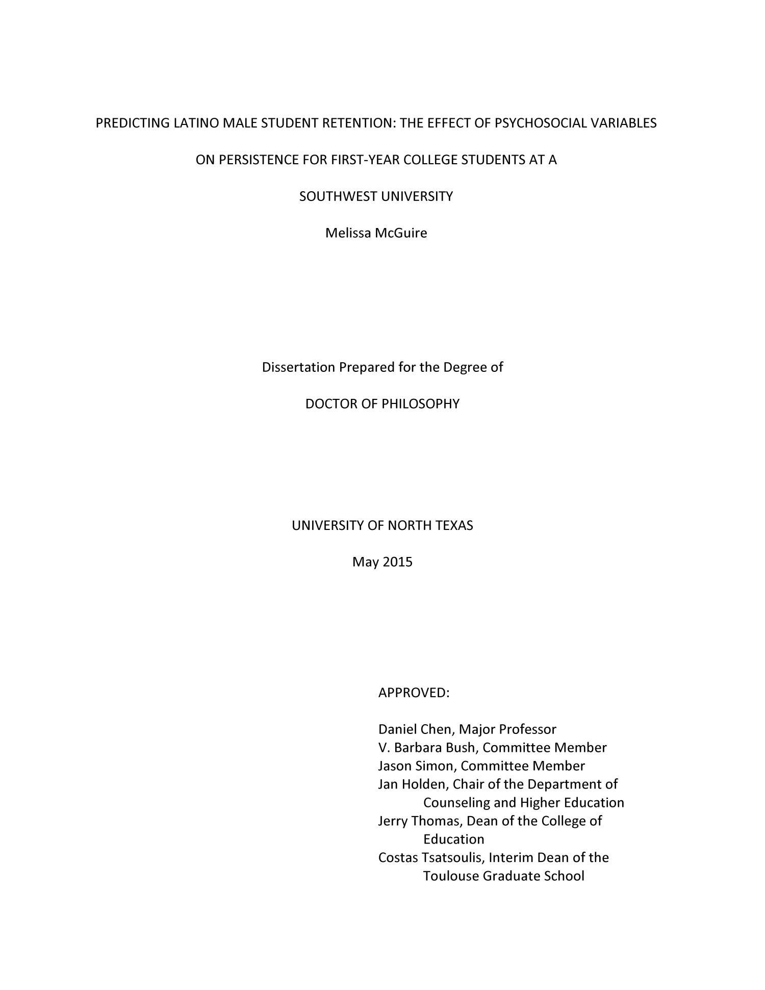Dissertation student retention
