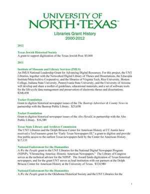 Primary view of object titled 'University of North Texas Libraries Grant History: 2000-2012'.